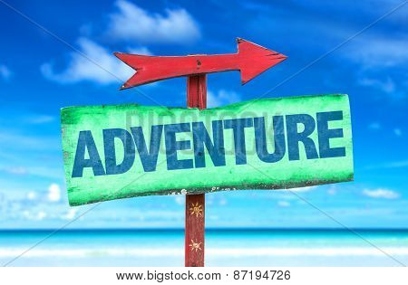 Adventure sign with beach background