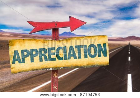 Appreciation sign with road background