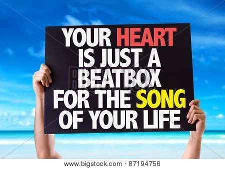 Your Heart Is Just A Beatbox For The Song of Your Life card with beach background