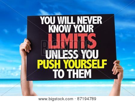 You Will Never Know Your Limits Unless You Push Yourself To Them card with beach background