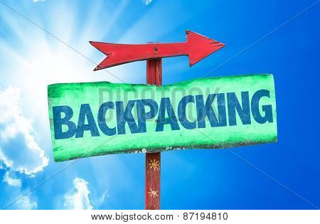 Backpacking sign with sky background