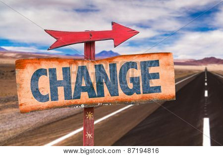 Change sign with road background