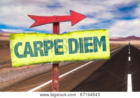 Carpe Diem sign with road background