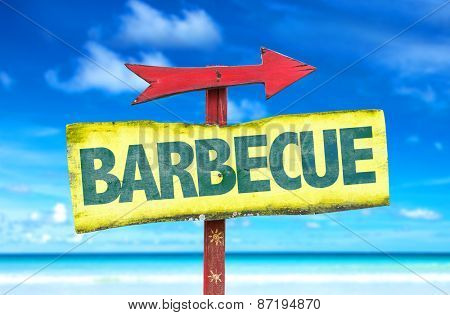 Barbecue sign with beach background