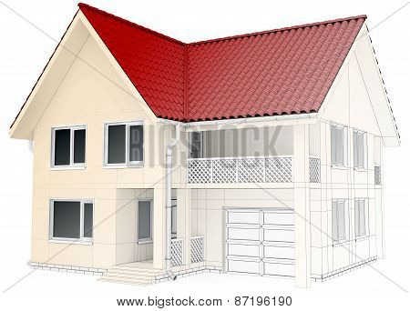 house design wireframe, architectural drawing and visualization
