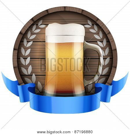 Label Beer barrel keg with beer glass and ribbon