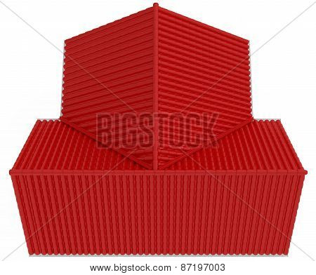 Top view on red roof. isolated in white background. 3d render