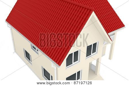 Two-storey house with a red roof