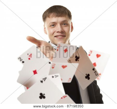 Bluff, Man playing with poker cards
