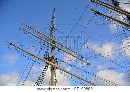 Close-up of tall ship's mast