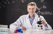 stock photo of professor  - chemistry or science concept - JPG