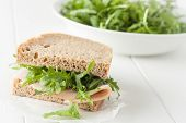 stock photo of whole-wheat  - Whole wheat healthy turkey sandwich on white background - JPG