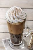 picture of frappe  - iced coffee with milk and ice cream in a glass - JPG
