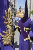 picture of tassels  - Detail of embroidery and tassel in a Purple banner traditional dress of holy week in Spain - JPG