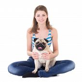 pic of pug  - young beautiful woman sitting with pug dog isolated on white background - JPG