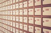 foto of old post office  - Post box with number Retro filter effect - JPG