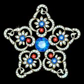 image of brooch  - Diamond brooch in the shape of a star - JPG