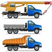 image of modification  - Vector Lorry Icons Set 3 including three industrial trucks of various modifications isolated on white background - JPG