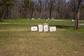 foto of archery  - Archery on target in the woods in early spring - JPG