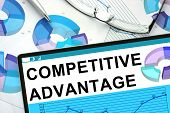 stock photo of competition  - Competitive Advantage on tablet with graphs - JPG