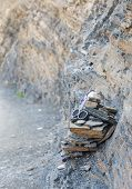 foto of atlas  - The geodes stone on the sedimentary rock of the Atlas mountain in Morocco - JPG