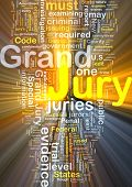 stock photo of jury  - Background text pattern concept wordcloud illustration of grand jury glowing light - JPG