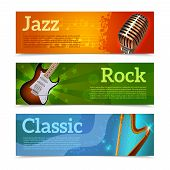 picture of drum-set  - Music festival horizontal banners set with jazz rock classic instruments isolated vector illustration - JPG