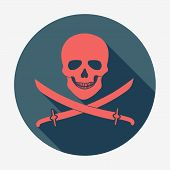 image of pirate flag  - Pirate flag icon - JPG