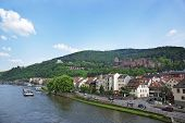 pic of barge  - Quay traffic and barges in the river and quay of european city in summer Heidelberg - JPG