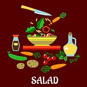 picture of soy sauce  - Cooking salad flat concept showing bowl with sliced fresh vegetables surrounded by whole carrots - JPG