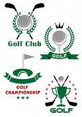 foto of laurel  - Golf championship emblems or badges showing balls - JPG
