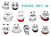 image of caricatures  - Emotions faces in cartoon style showing happy - JPG