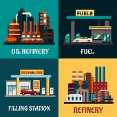stock photo of gasoline station  - Oil refinery factories and gas stations concepts in flat style showing roadside filling stations with cars - JPG