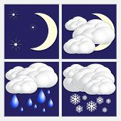 stock photo of snow clouds  - Vector abstract night  weather image set with sun - JPG