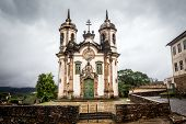 picture of assis  - View of the Igreja de Sao Francisco de Assis of the unesco world heritage city of ouro preto View of the Igreja de Sao Francisco de Assis of the unesco world heritage city of ouro preto - JPG