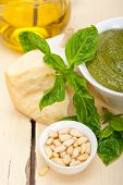 pic of pesto sauce  - Italian traditional basil pesto sauce ingredients on a rustic table - JPG