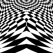 foto of distort  - Design monochrome movement illusion checkered background - JPG