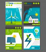 stock photo of electricity  - Eco energy solar panel and windmills ecological  rechargeable electricity generation systems 4 icons poster abstract vector illustration - JPG