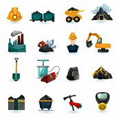 stock photo of gold mine  - Mining industry gold coal and minerals extraction icons set isolated vector illustration - JPG