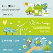 picture of wind energy  - Eco energy horizontal banner set with green home planet flat elements isolated vector illustration - JPG