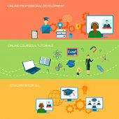 picture of online education  - Online education horizontal banner set with professional development courses elements isolated vector illustration - JPG