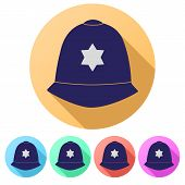 image of bobbies  - Set Flat icons of  traditional authentic helmet of metropolitan British police officers - JPG