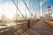 picture of brooklyn bridge  - Woman taking a photo from Brooklyn bridge - JPG