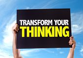 stock photo of transformation  - Transform Your Thinking card with sky background - JPG