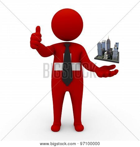 3d businessman people Switzerland - Megalopolis and cities