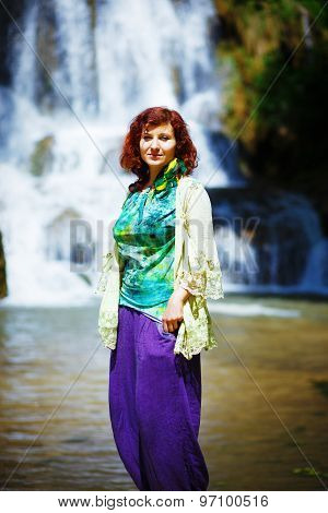 Beautiful Girl At Waterfall With Ethnic Clothing
