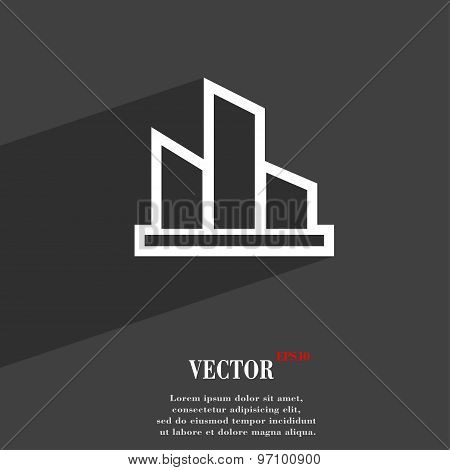 Diagram Icon Symbol Flat Modern Web Design With Long Shadow And Space For Your Text. Vector