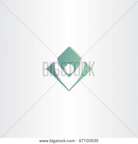 Letter V Man Green Square Symbol