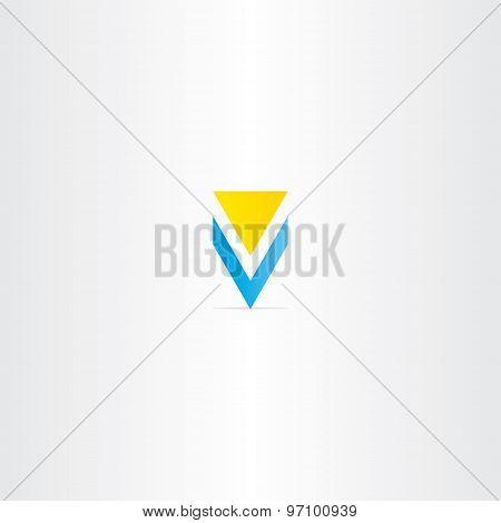 Letter V Yellow Blue Logo Design