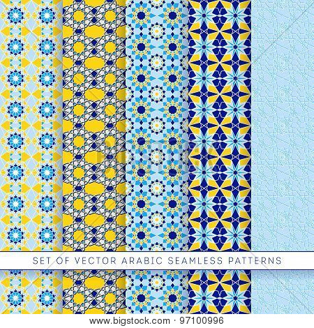 Five Blue-yellow Vector Arabic Patterns